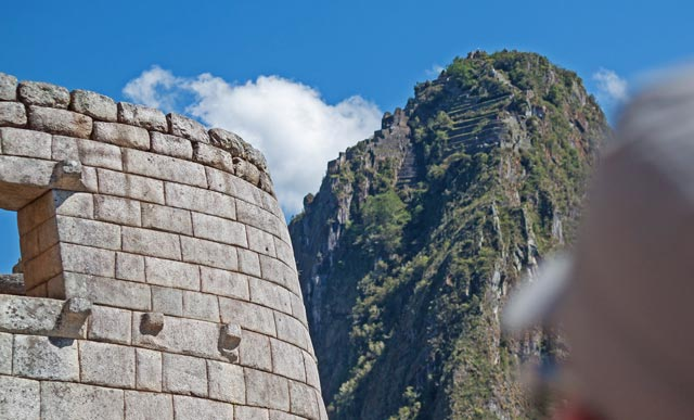 Huanyna Picchu view from Sun Temple in Machu Picchu