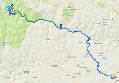 Inca Trail One Day Map - Distance